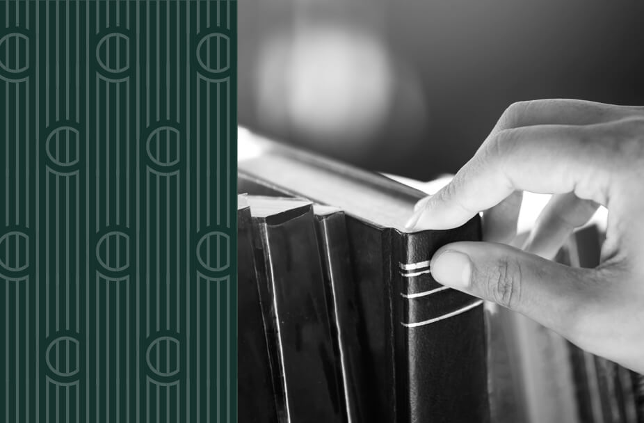 split image with vertical green rectangle overlaid with white vertical lines and the letter C repeated on the left and black and white photo of a hand pulling a book from a shelf on the right