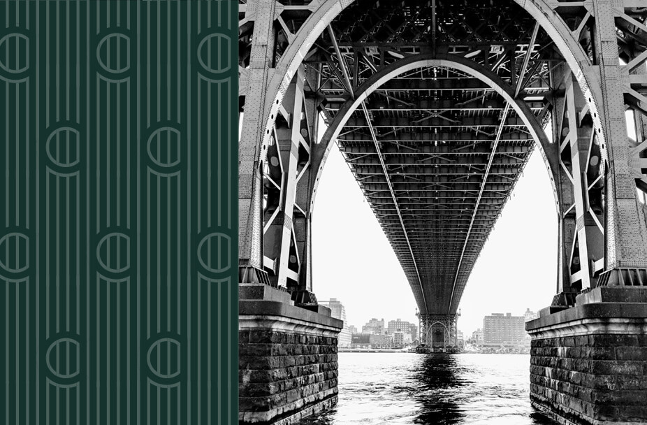 split image with vertical green rectangle overlaid with white vertical lines and the letter C repeated on the left and black and white photo of view under bridge facing water and city