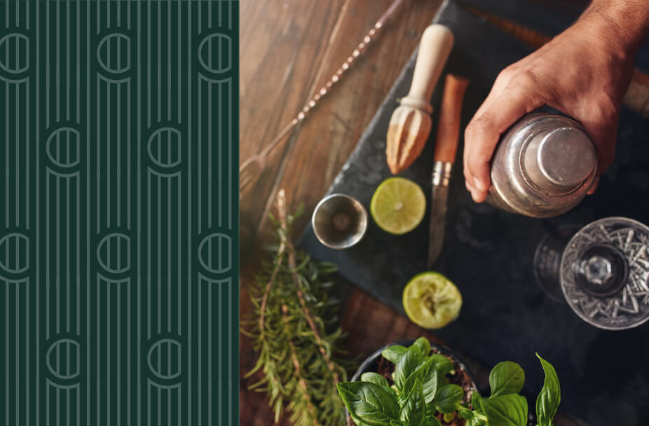 split image with vertical green rectangle overlaid with white vertical lines and the letter C repeated on the left and color photo of overhead view of someone making a mojito cocktail on the r ight