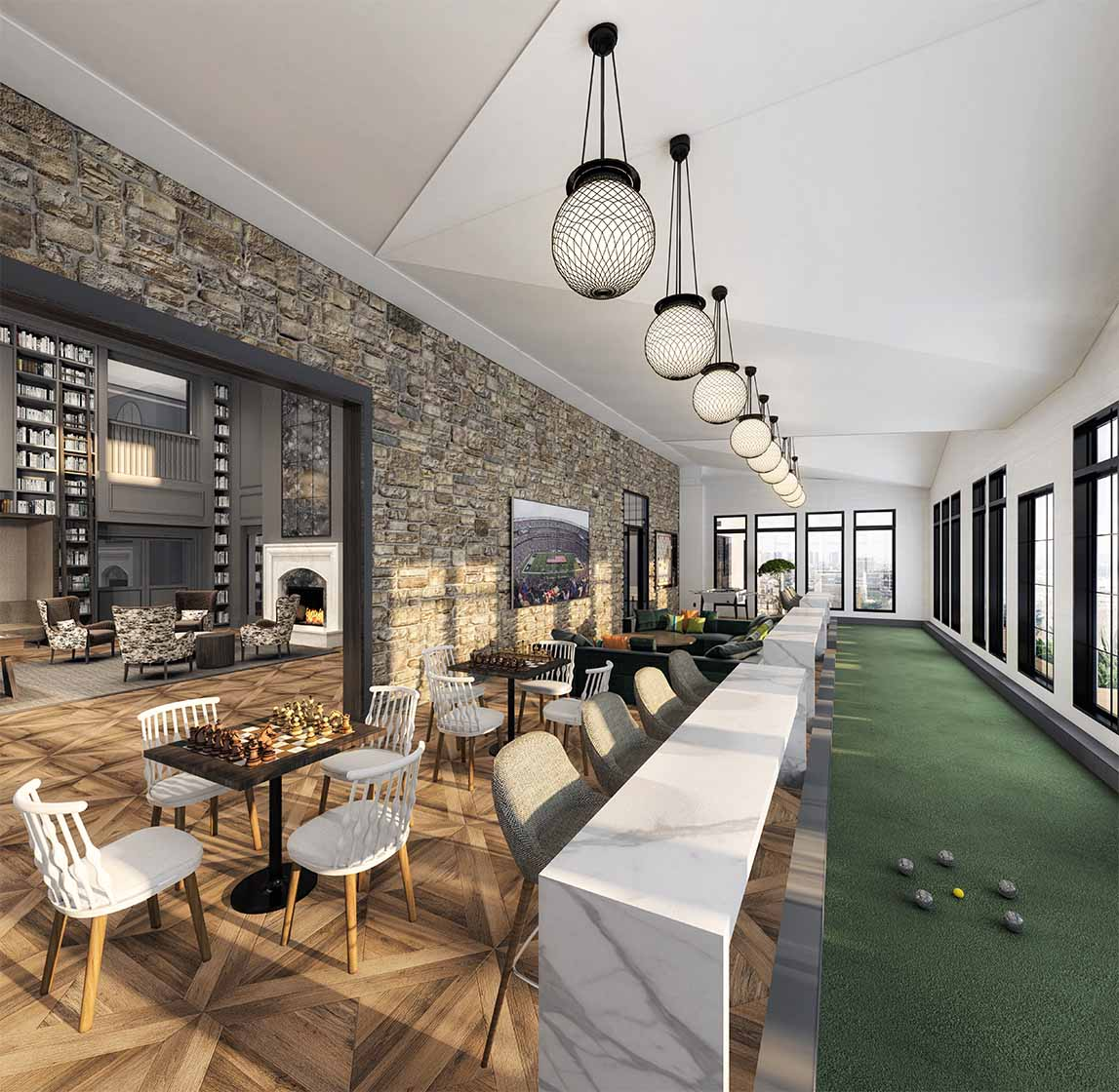 Rendering of greenhouse at Carraway with indoor Bocce Ball, co-working spaces and TV seating areas