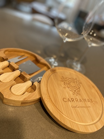 Carraway branded knife set and wine glasses