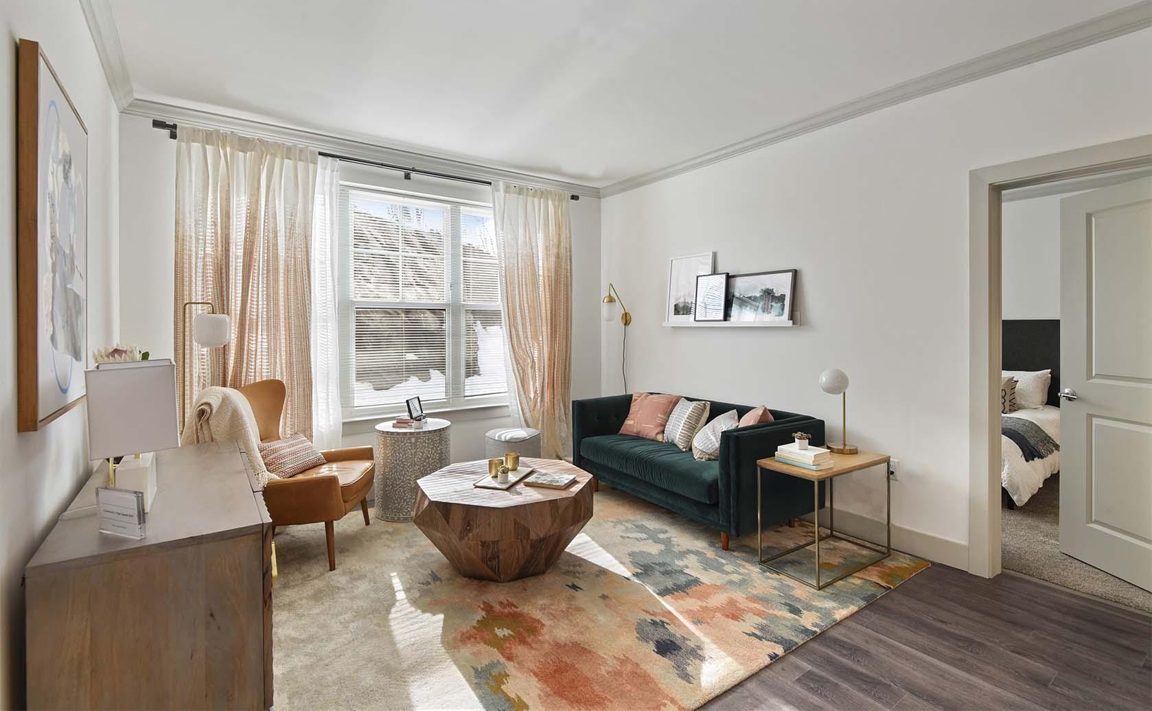 Light filled living room at Carraway