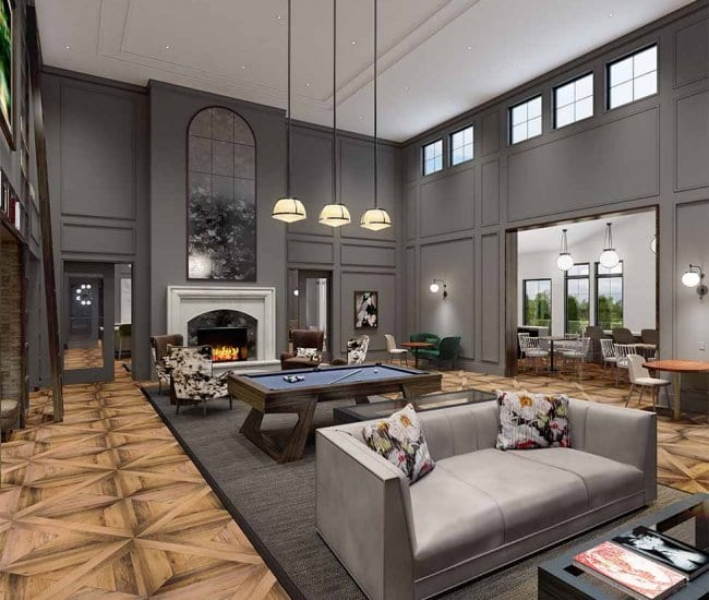 Rendering of the resident lounge at Carraway with 2-story ceiling heights and seating areas