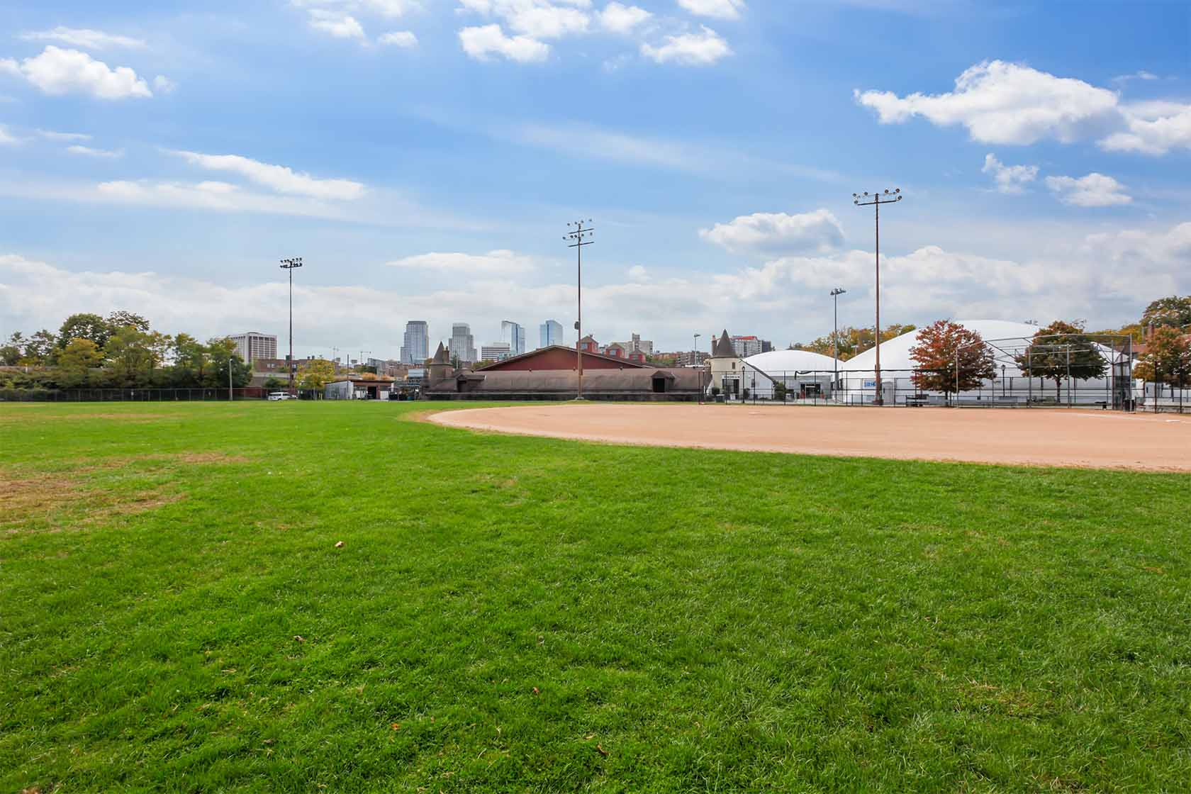 An image of the baseball field at Delfino Park.