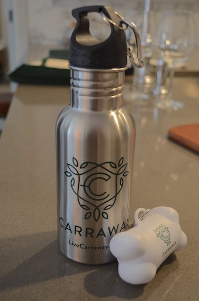 Carraway water bottle and dog bag